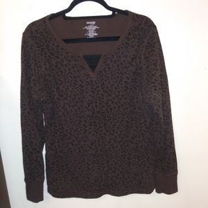 Danskin Now Brown Cheetah Print Long Sleeve Shirt